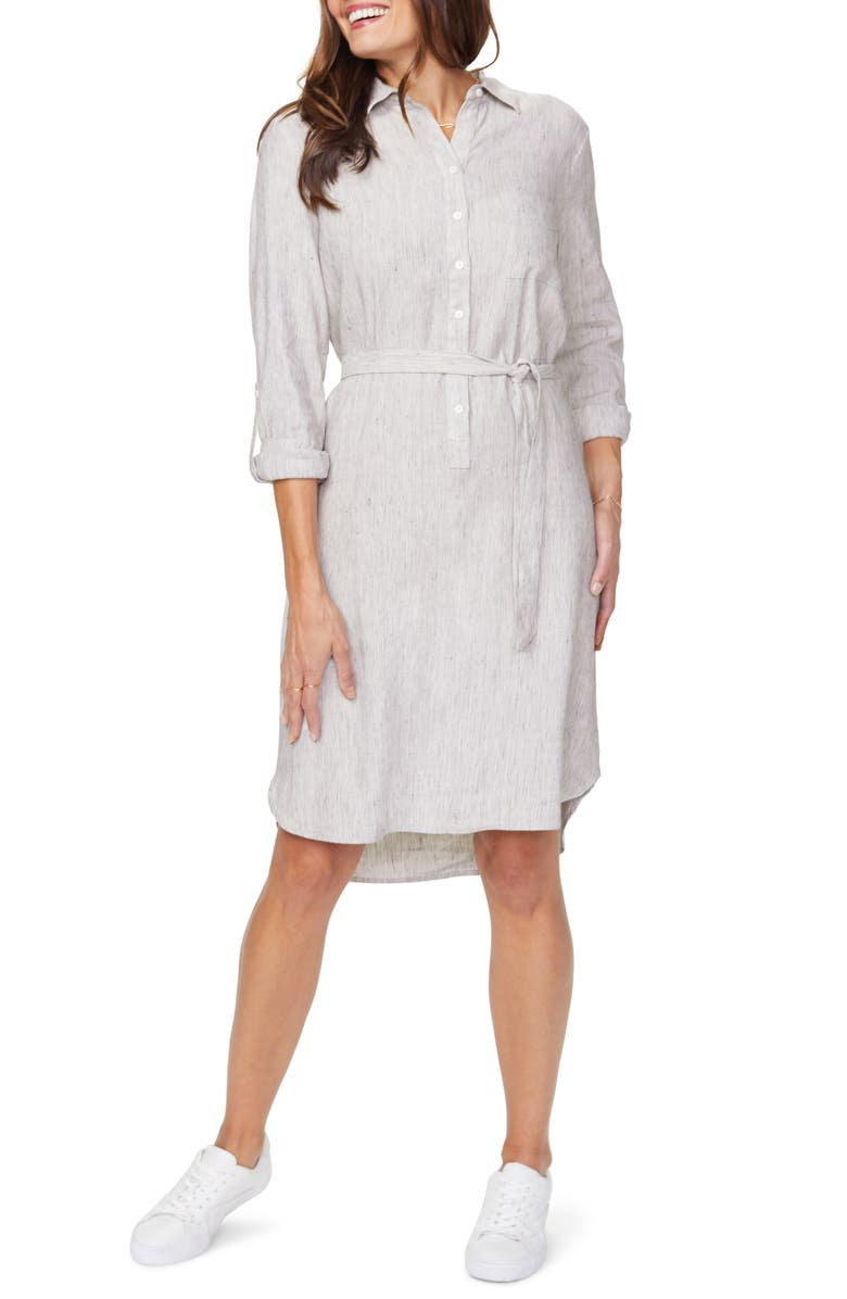NYDJ Linen Blend Long Sleeve Shirtdress, Main, color, 091