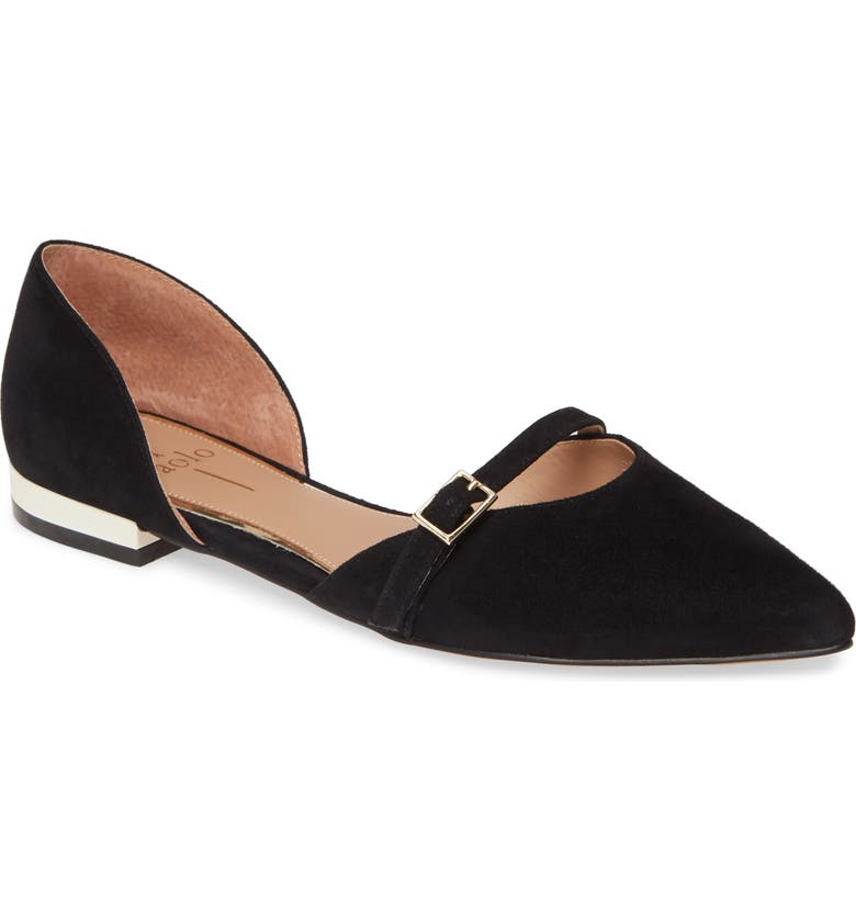 LINEA PAOLO Demi d'Orsay Flat, Main, color, BLACK SUEDE