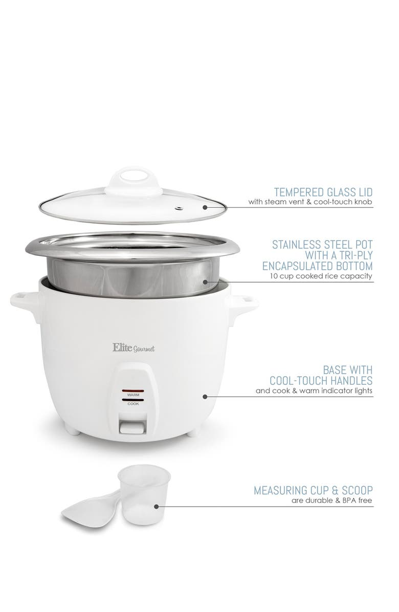 MAXI-MATIC Elite Gourmet 5-Cup (Uncooked) Rice Cooker with Stainless Steel Cooking Pot, Main, color, WHITE
