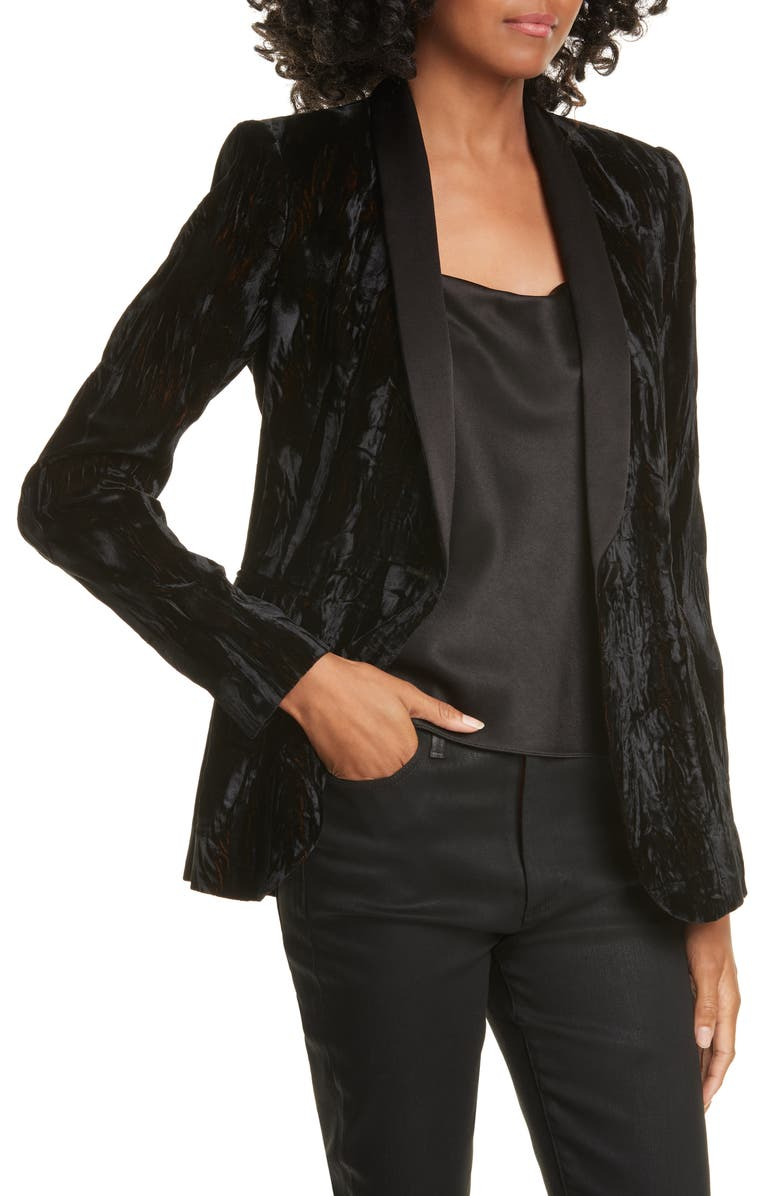 ALICE + OLIVIA Macey Crushed Velvet Blazer, Main, color, 001