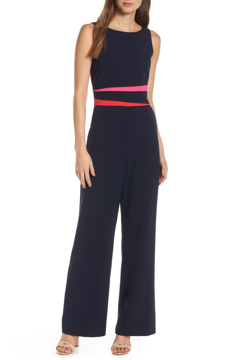 VINCE CAMUTO Colorblock Crepe Jumpsuit, Main, color, NAVY/ RED