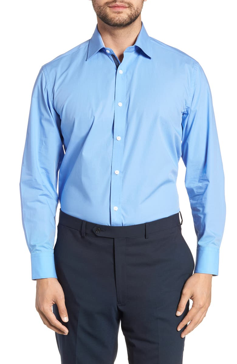ENGLISH LAUNDRY Trim Fit Stretch Solid Dress Shirt, Main, color, BLUE
