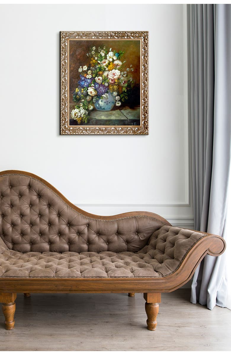 OVERSTOCK ART Grande Vase Di Fiori by Pierre Auguste Renoir Framed Hand Painted Oil on Canvas, Main, color, MULTI