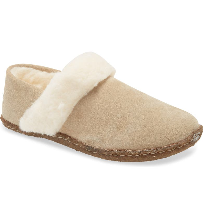 SOREL Nakiska II Faux Shearling Lined Slide Slipper, Main, color, BRITISH TAN/ NATURAL