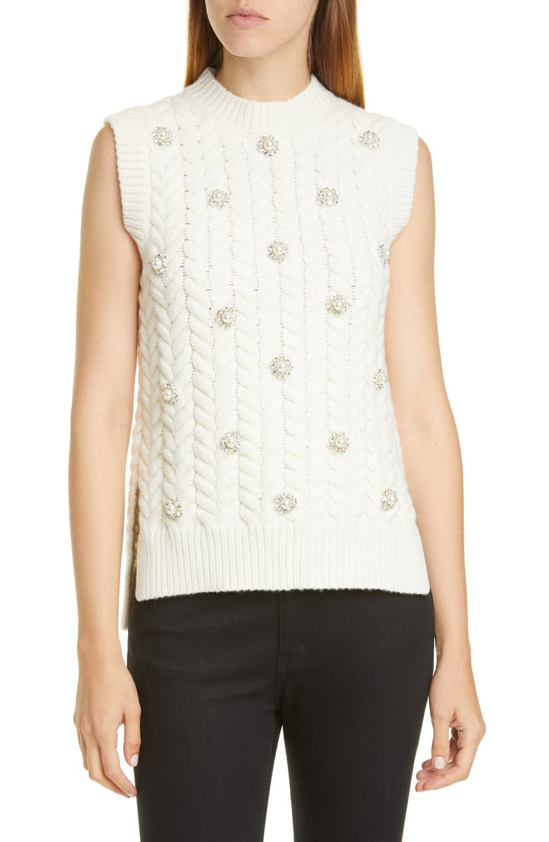 MONCLER GENIUS x 4 Simone Rocha Imitation Pearl & Crystal Cable Sweater, Main, color, 100