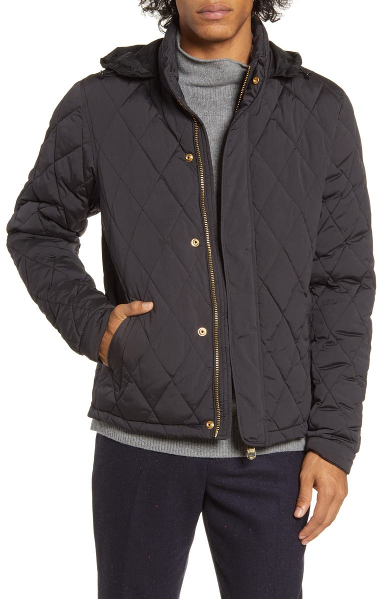 SCOTCH & SODA Hooded Lightweight Diamond Quilted Jacket, Main, color, 002