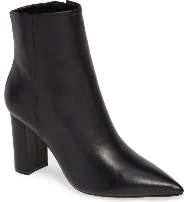 MARC FISHER LTD Ulani Pointy Toe Bootie, Main, color, BLACK LEATHER
