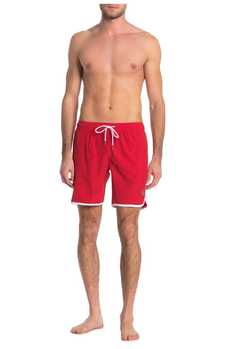 MR. SWIM Contrast Binding Solid Swimming Trunks, Main, color, RED