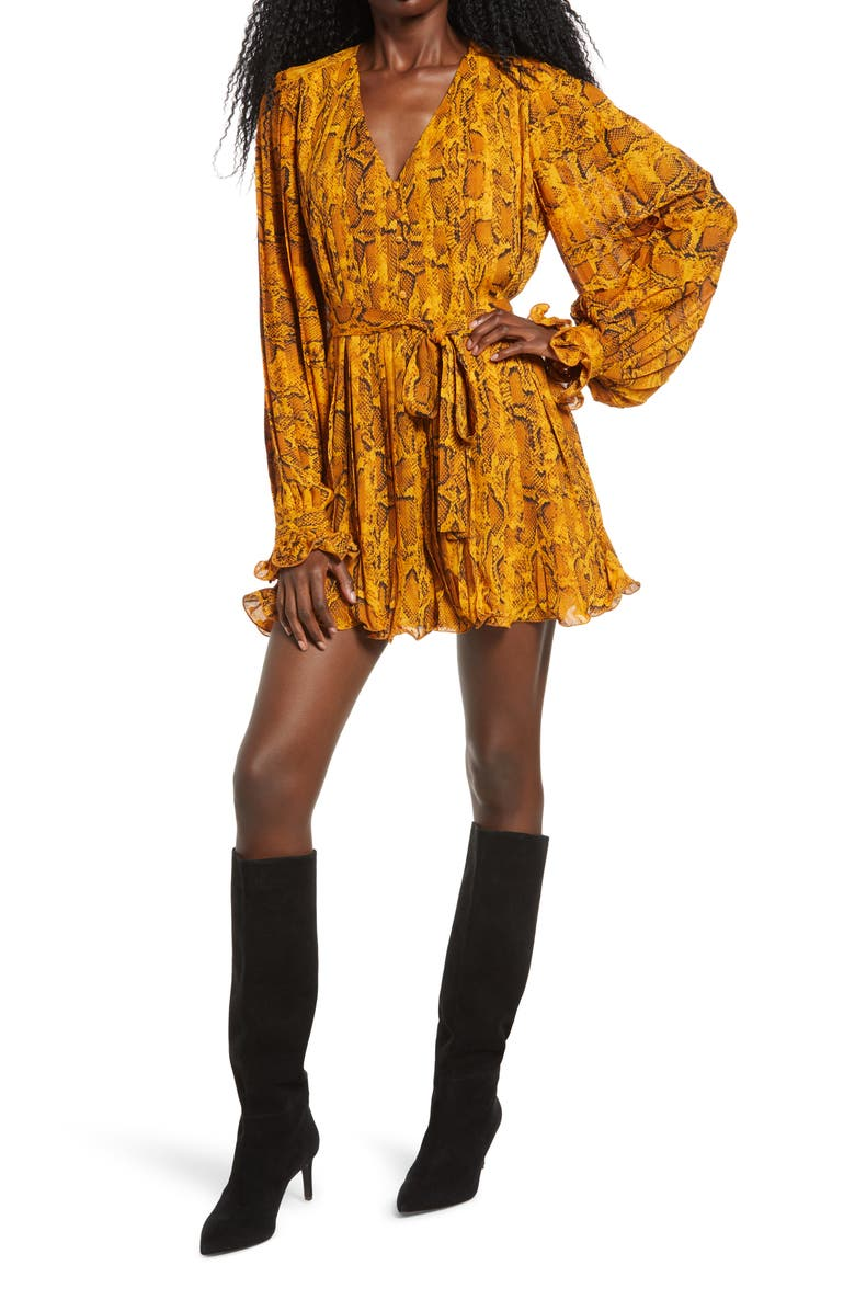 ENDLESS ROSE Python Print Pleated Long Sleeve Dress, Main, color, MULTI