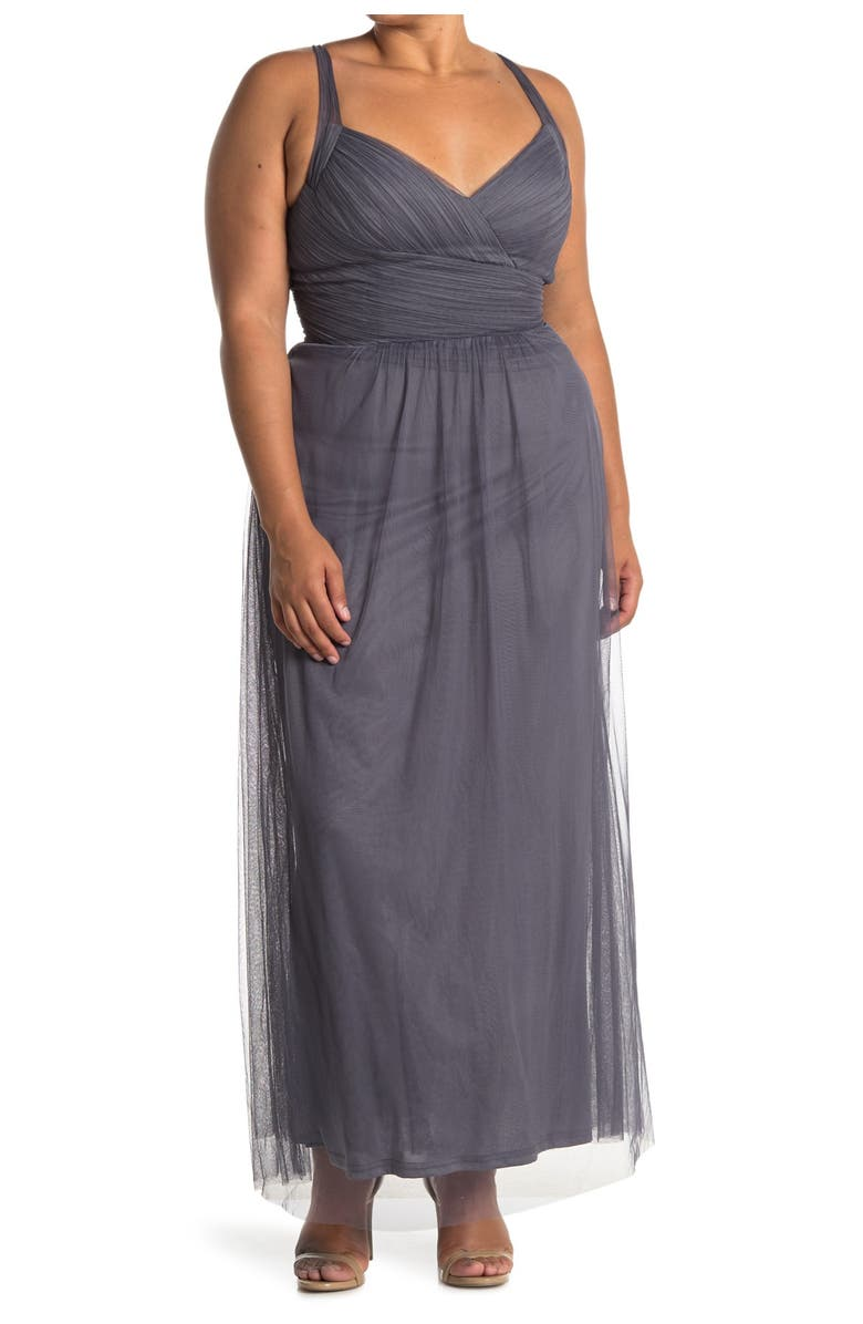 #LEVKOFF Crisscross Strap Tulle A-Line Gown, Main, color, 050