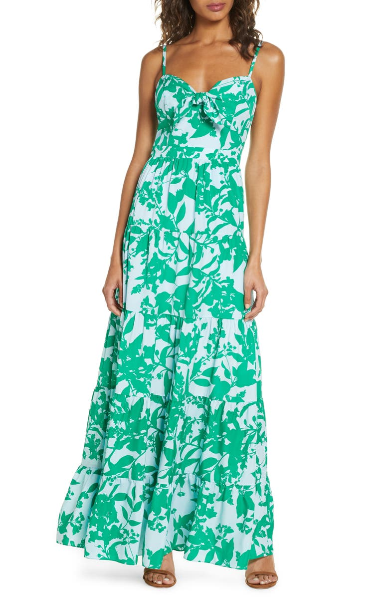 ELIZA J Floral Tie Front Tiered Maxi Sundress, Main, color, 421