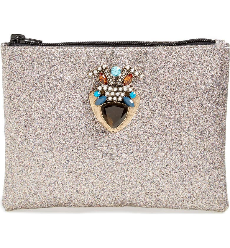 BERRY Embellished Glitter Clutch, Main, color, Silver