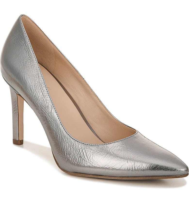 27 EDIT Alanna Pointed Toe Pump, Main, color, PEWTER METALLIC LEATHER