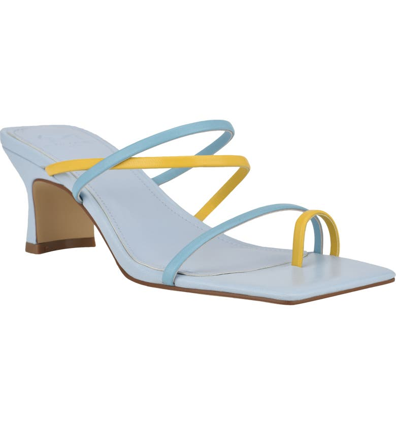 MARC FISHER LTD Calida Strappy Slide Sandal, Main, color, YELLOW TULIP/ BLUE TEAL