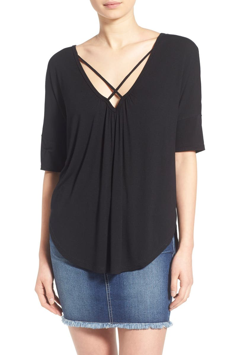 ALL IN FAVOR Cross Front Oversize Tee, Main, color, BLACK