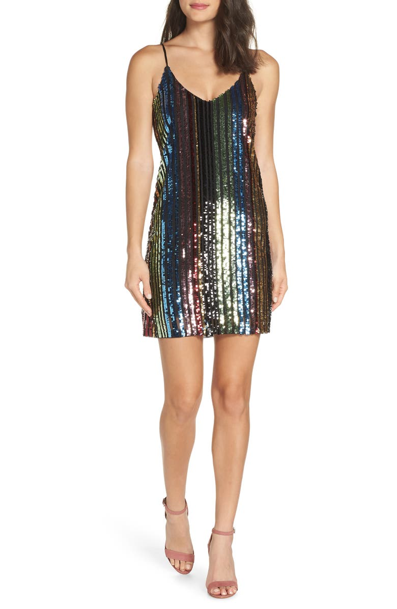 FOREST LILY Sequin Stripe Slipdress, Main, color, 046
