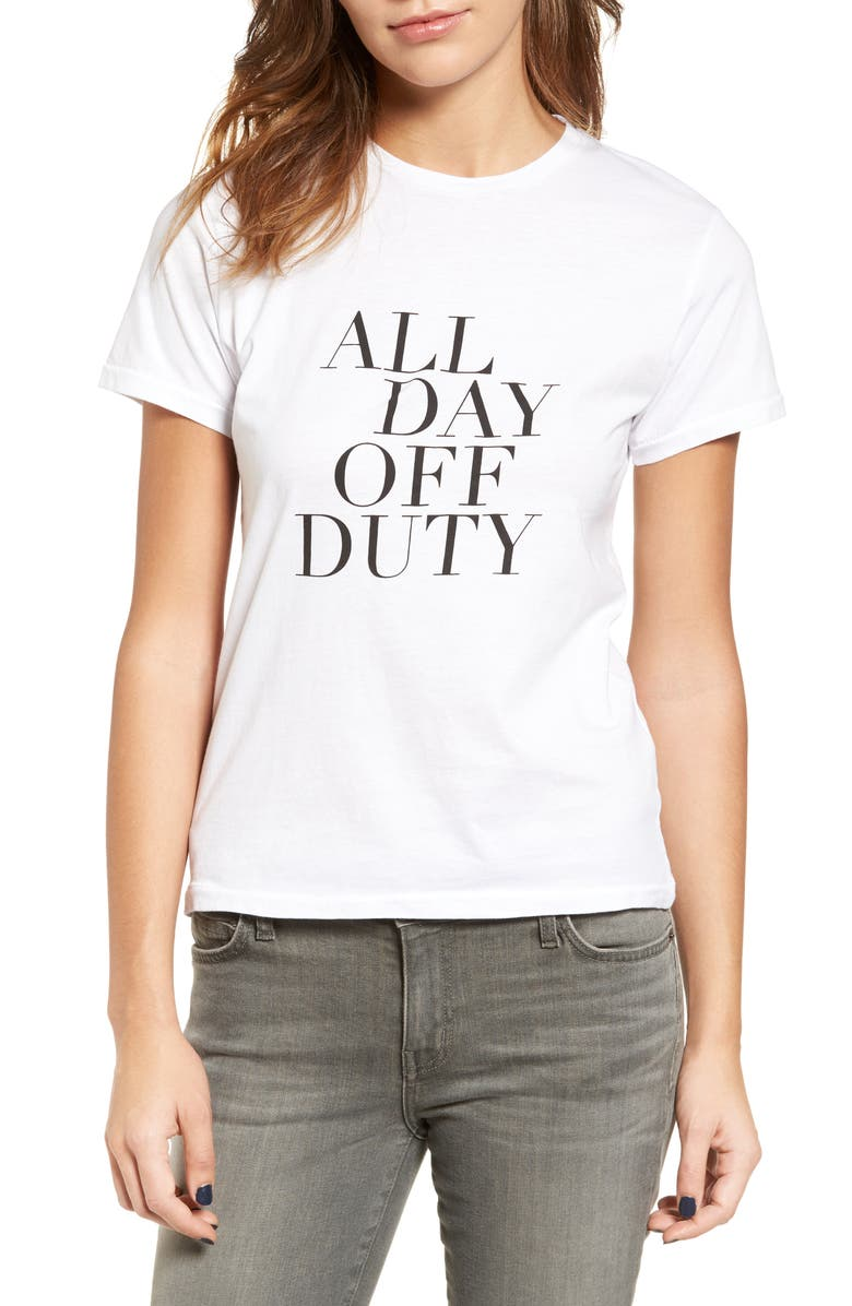 SINCERELY JULES All Day Off Duty Cotton Tee, Main, color, WHITE