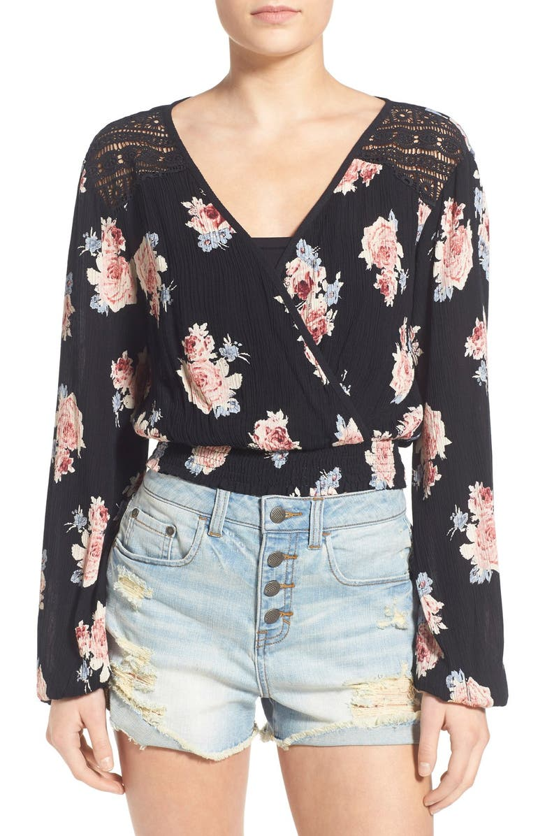 BAND OF GYPSIES Floral Print Surplice Top, Main, color, 650