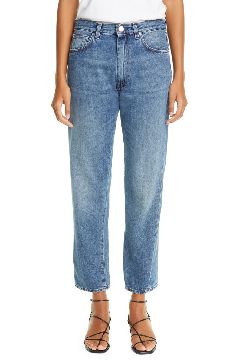 TOTÊME Twisted Seam High Waist Straight Leg Crop Jeans, Main, color, 400