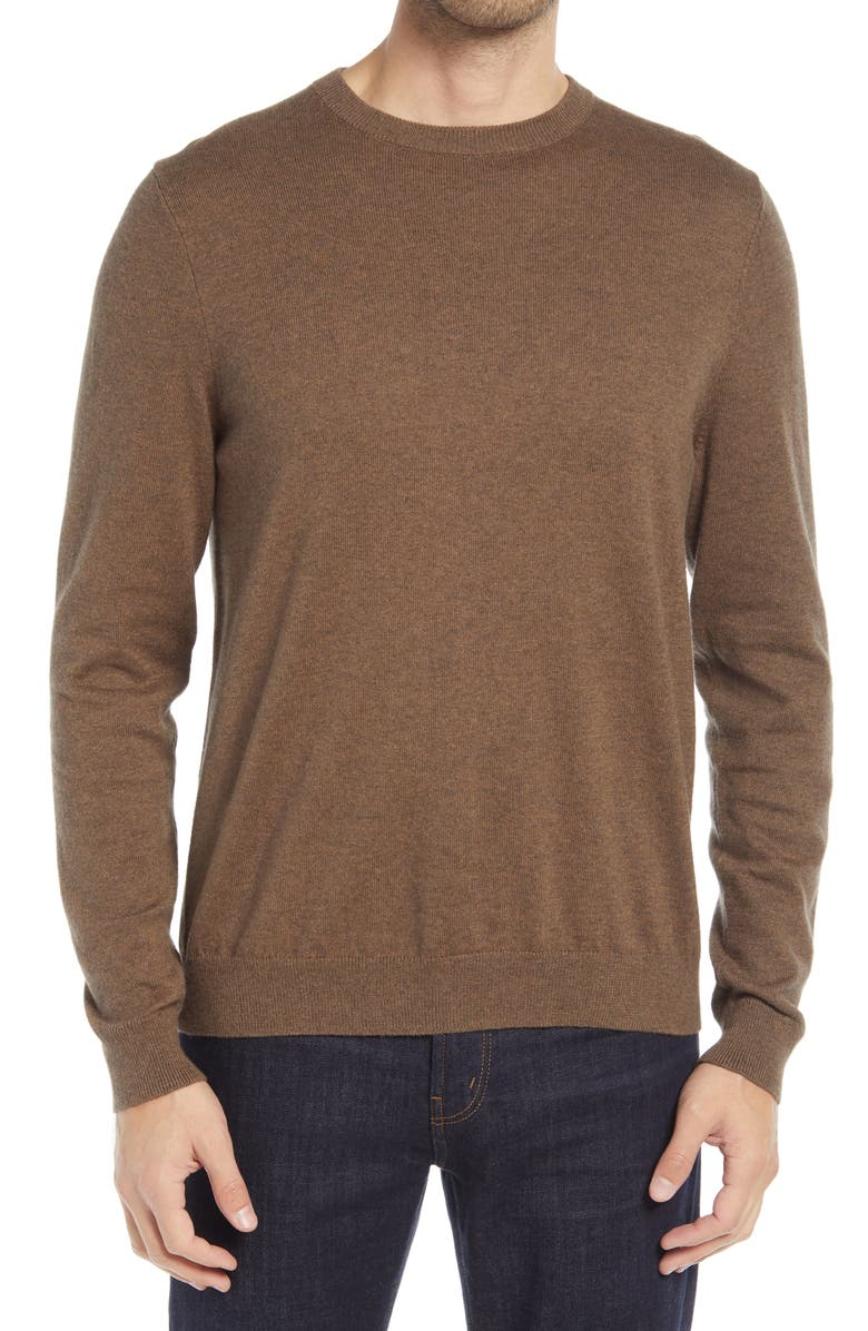 NORDSTROM Cotton & Cashmere Crewneck Sweater, Main, color, BROWN CUB HEATHER