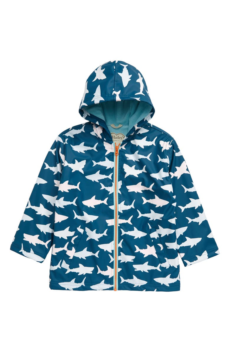 HATLEY Sharks Color Changing Waterproof Hooded Raincoat, Main, color, 400