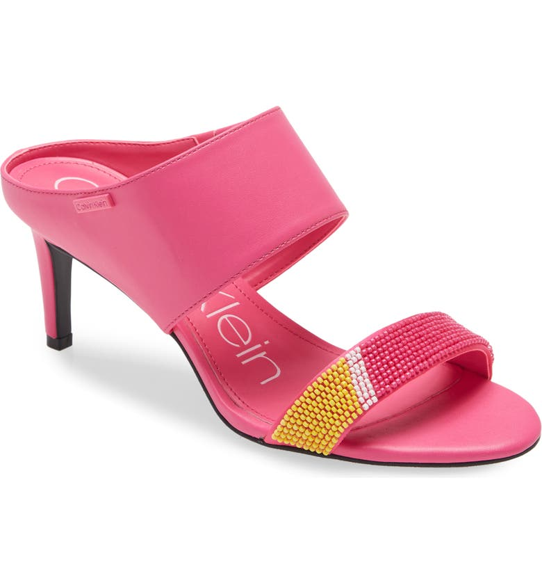 CALVIN KLEIN 'Cecily' Sandal, Main, color, PINK/ YELLOW FAUX LEATHER