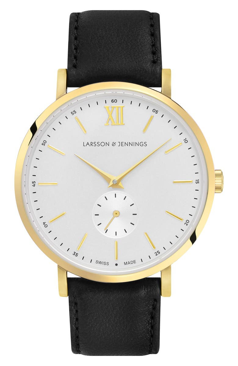LARSSON & JENNINGS Lugano Leather Strap Watch, 38mm, Main, color, 001