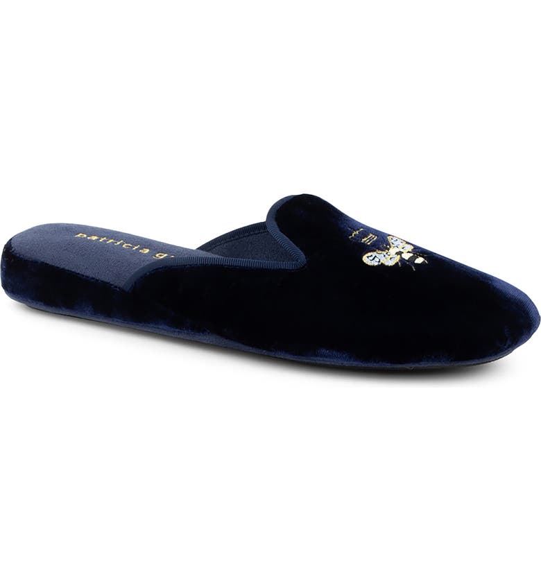 PATRICIA GREEN 'Queen Bee' Embroidered Slipper, Main, color, NAVY VELVET