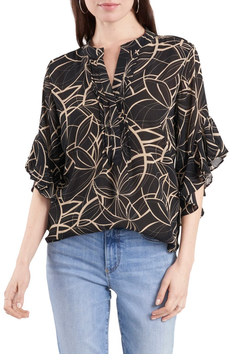 VINCE CAMUTO Swirl Print Top, Main, color, 001