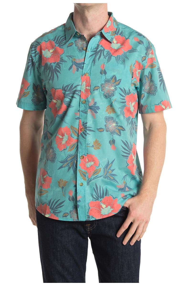 ONEILL Foundation Floral Regular Fit Shirt, Main, color, TURQUOISE