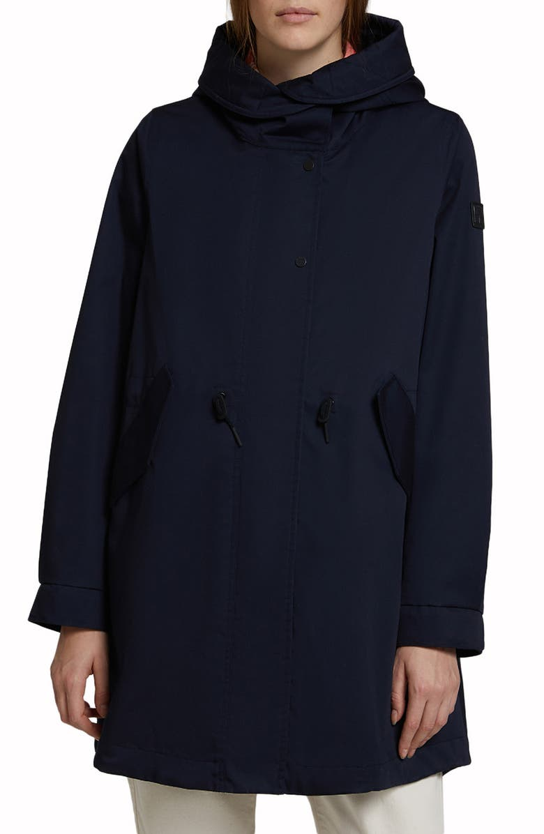 WOOLRICH Water Resistant Hooded Raincoat, Main, color, MELTON BLUE