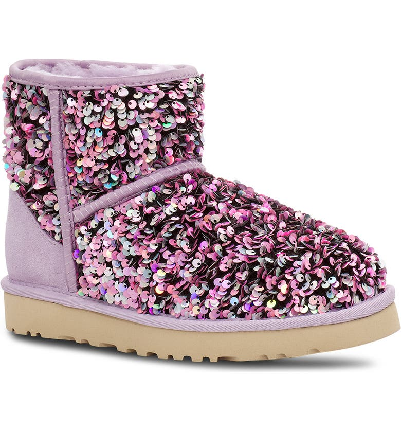 UGG<SUP>®</SUP> Mini Classic Stellar Sequin Boot, Main, color, LILAC FROST SUEDE