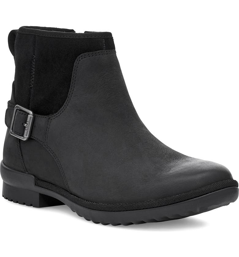 UGG<SUP>®</SUP> Selima Waterproof Bootie, Main, color, BLACK LEATHER