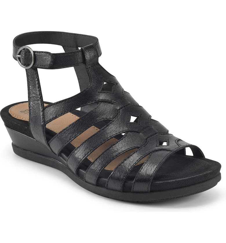 EARTH ORIGINS Pippa Wedge Sandal - Wide Width Available, Main, color, BLACK LEATHER
