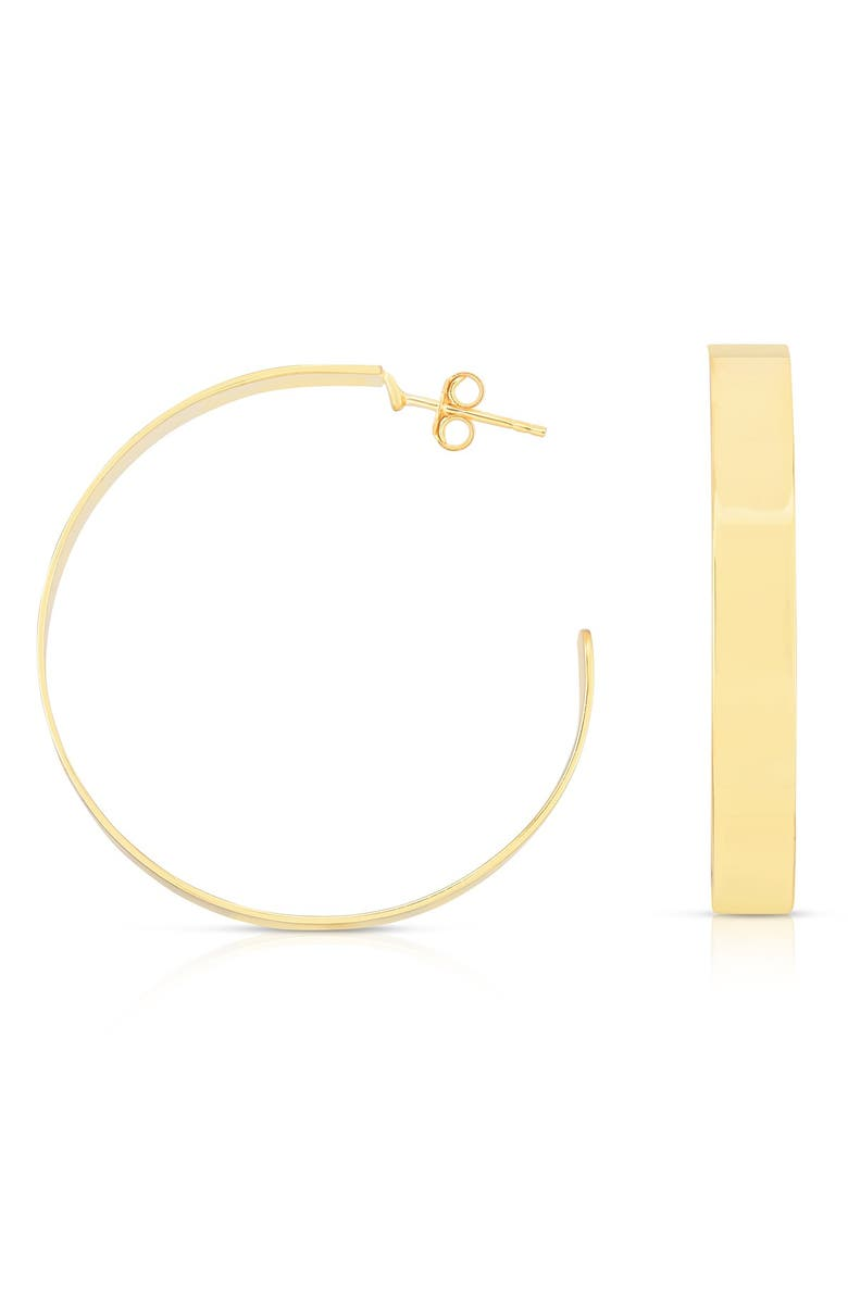 SPHERA MILANO 14K Yellow Gold Plated Sterling Silver Medium Wide 31mm Hoop Earrings, Main, color, YELLOW GOLD