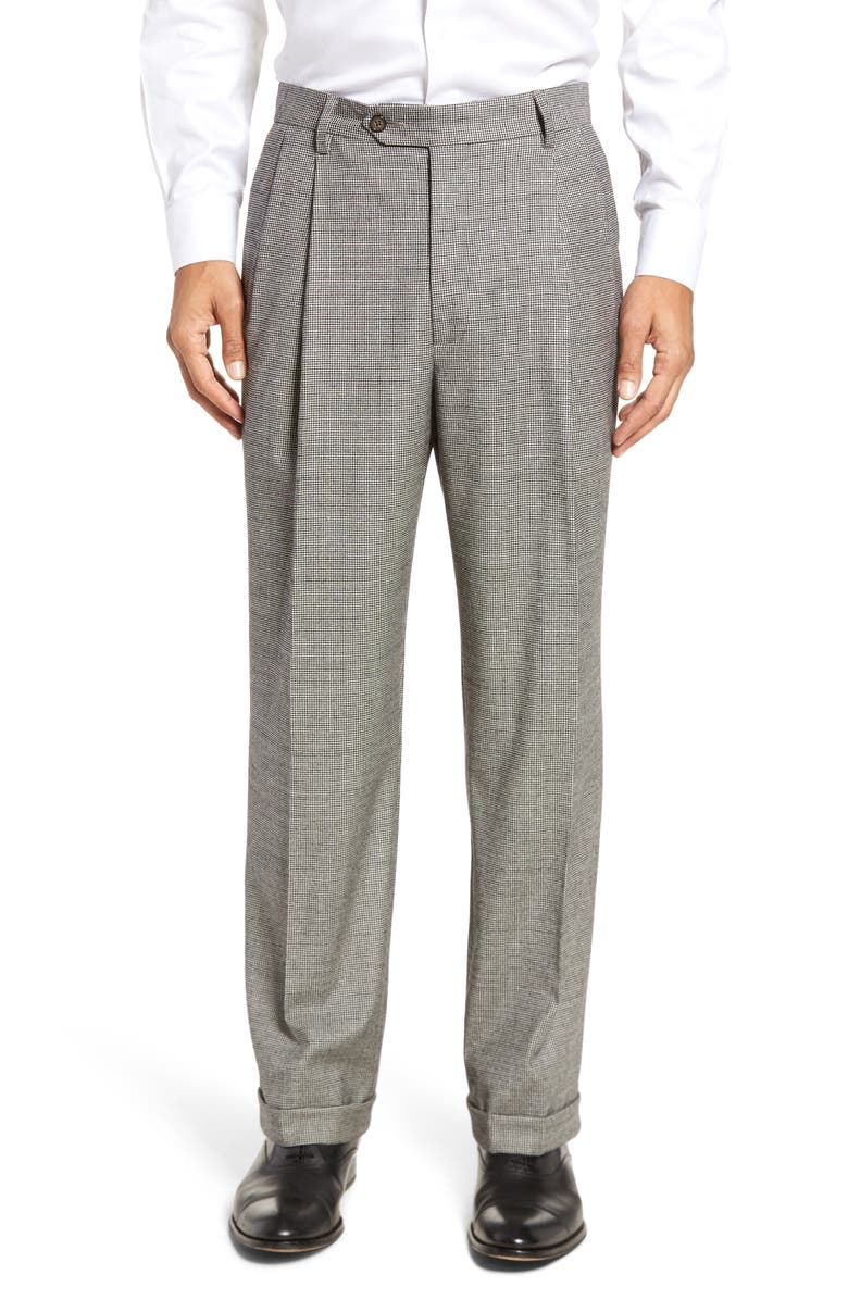 BERLE Touch Finish Pleated Houndstooth Classic Fit Stretch Wool Dress Pants, Main, color, BLACK/ WHITE