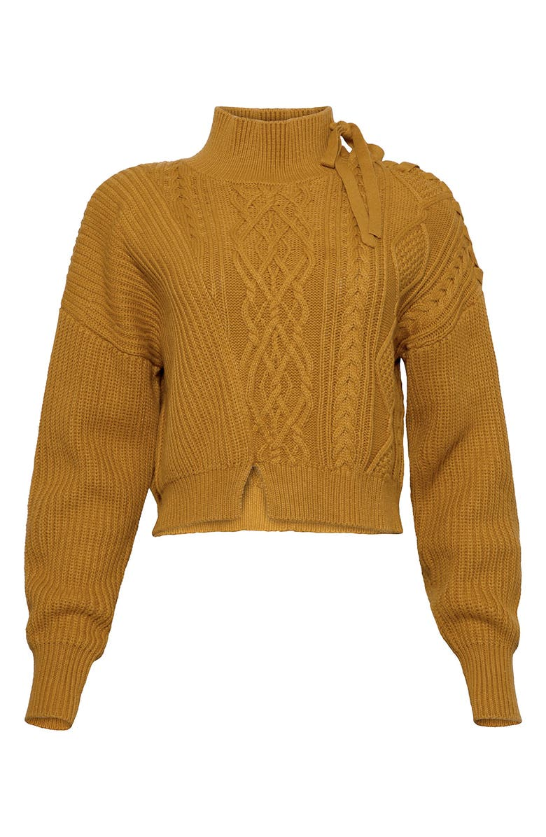 JONATHAN SIMKHAI Lace-Up Shoulder Cable Knit Sweater, Main, color, OCHRE