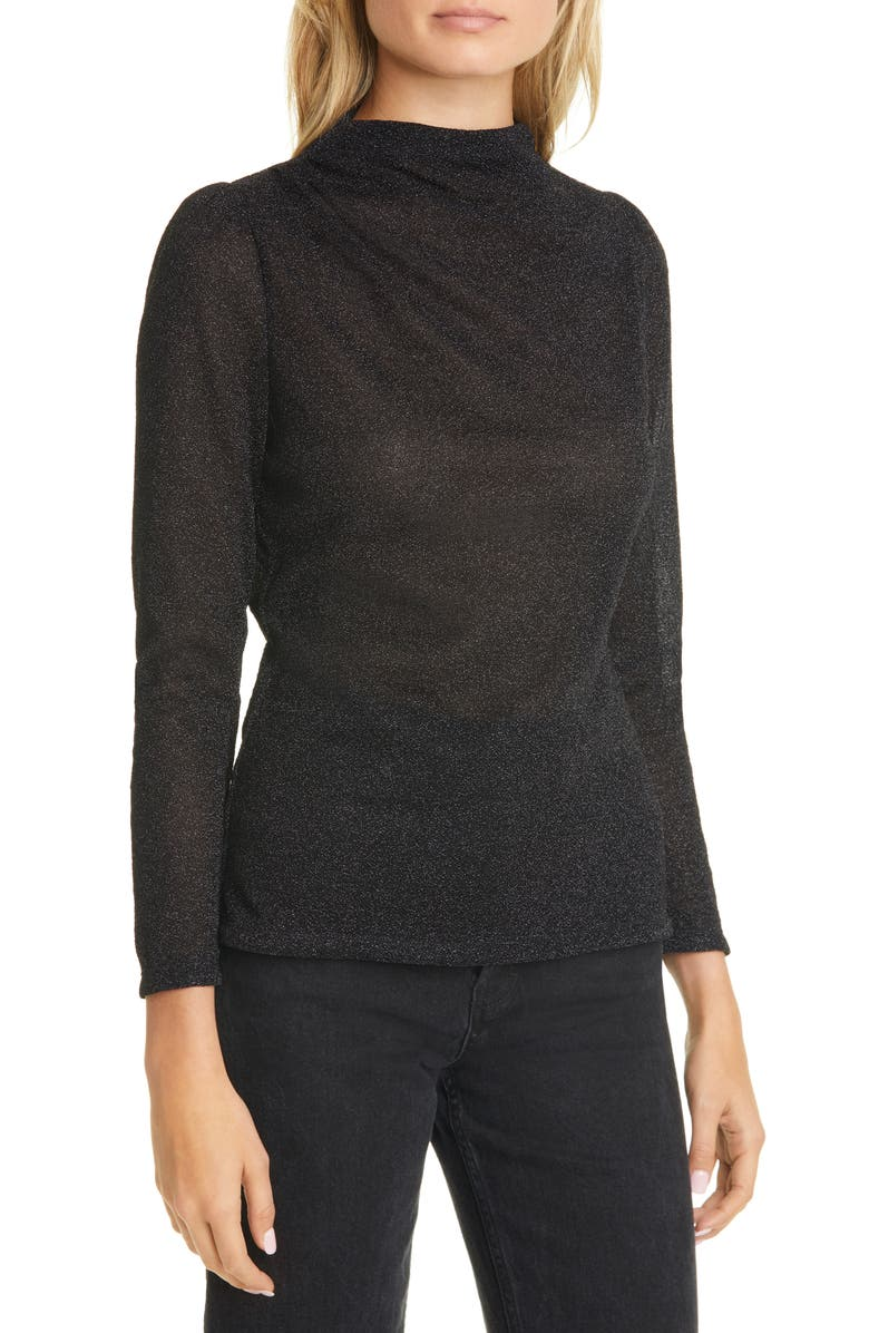REBECCA TAYLOR Metallic Jersey Mock Neck Top, Main, color, 001
