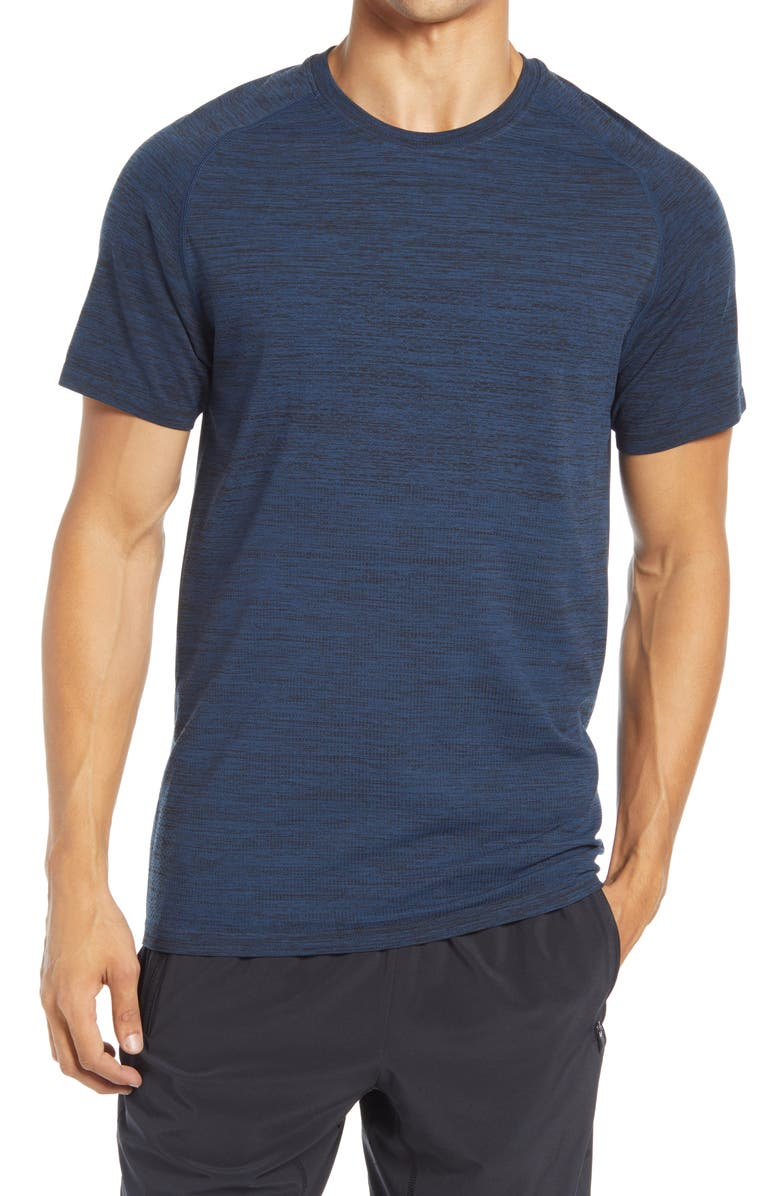 ZELLA Seamless Performance T-Shirt, Main, color, BLUE BLUR MELANGE