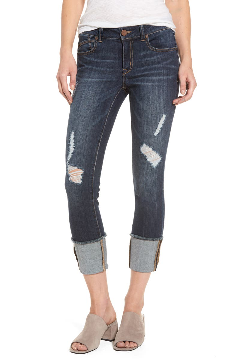 1822 DENIM Distressed Roll Cuff Jeans, Main, color, 426
