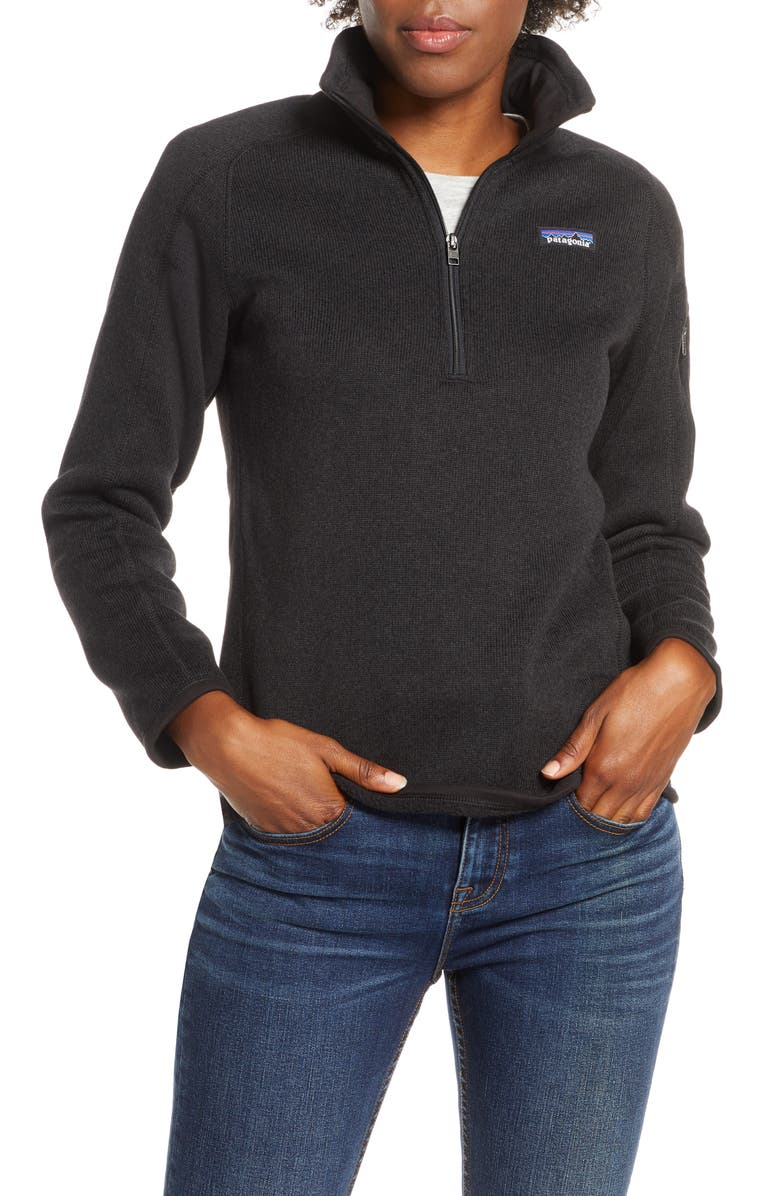 PATAGONIA Better Sweater Quarter Zip Performance Jacket, Main, color, BLACK