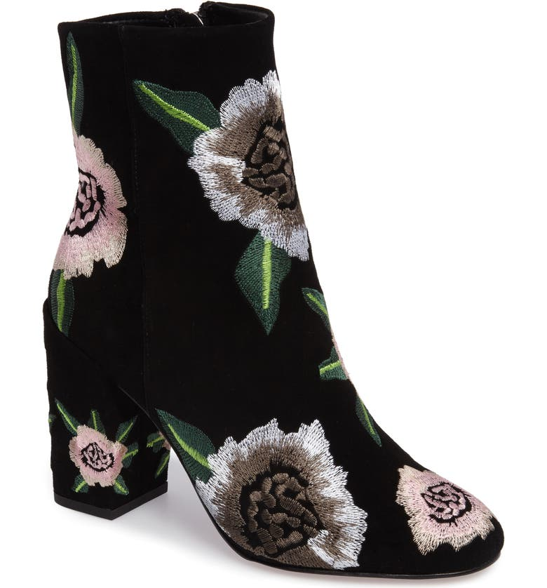 REBECCA MINKOFF Bryce Flower Embroidered Bootie, Main, color, BLACK SUEDE