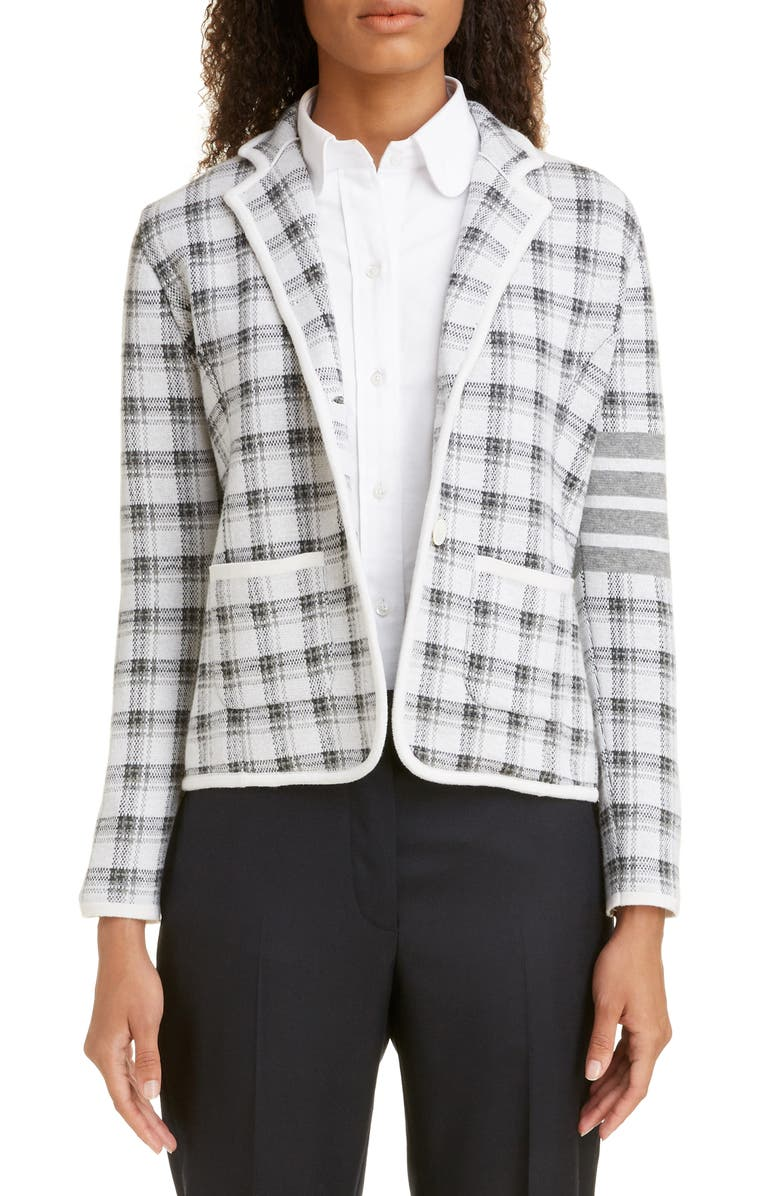 THOM BROWNE Check Jacquard Cashmere & Wool Sweater Jacket, Main, color, 020