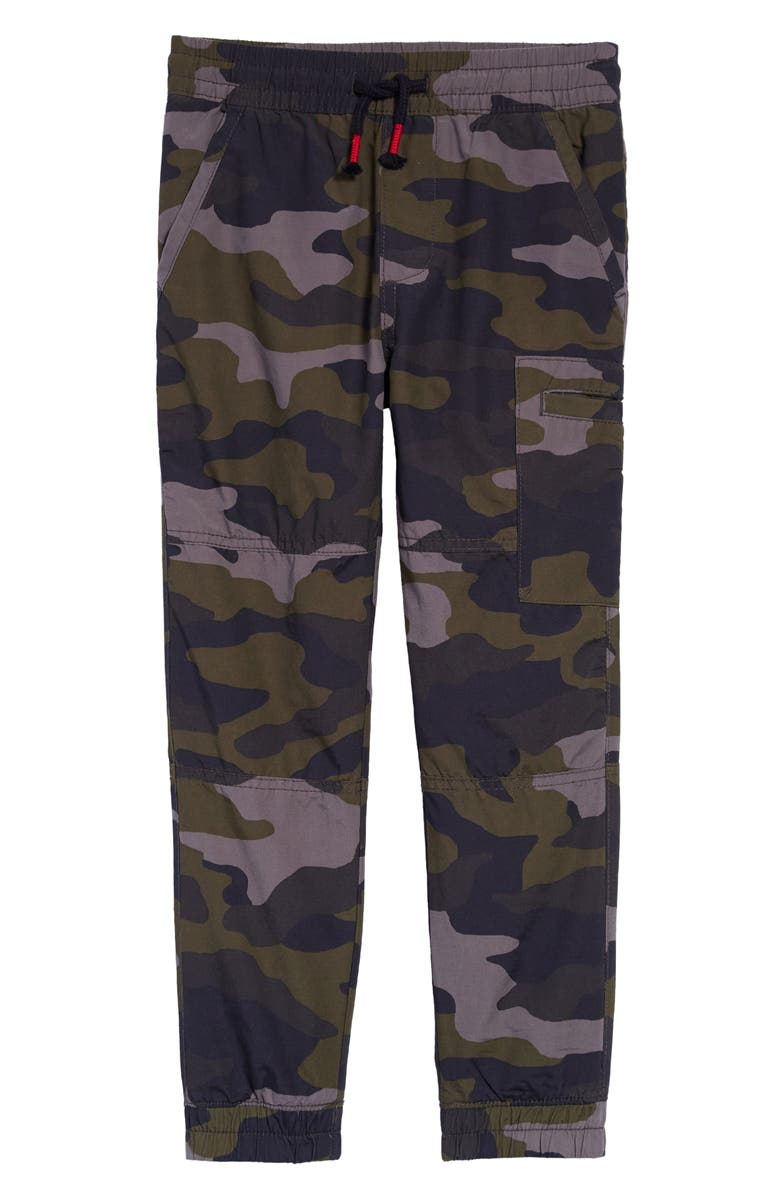 TUCKER + TATE Kids' Drawstring Waist Print Pants, Main, color, GREY ONYX CAMO