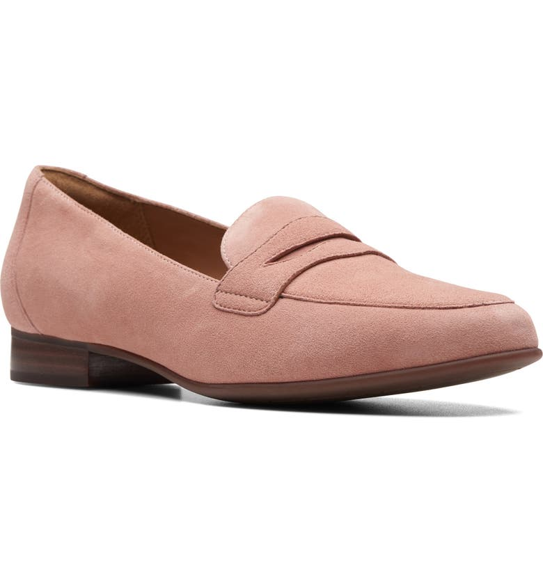CLARKS<SUP>®</SUP> Un Blush Go Penny Loafer, Main, color, ROSE SUEDE