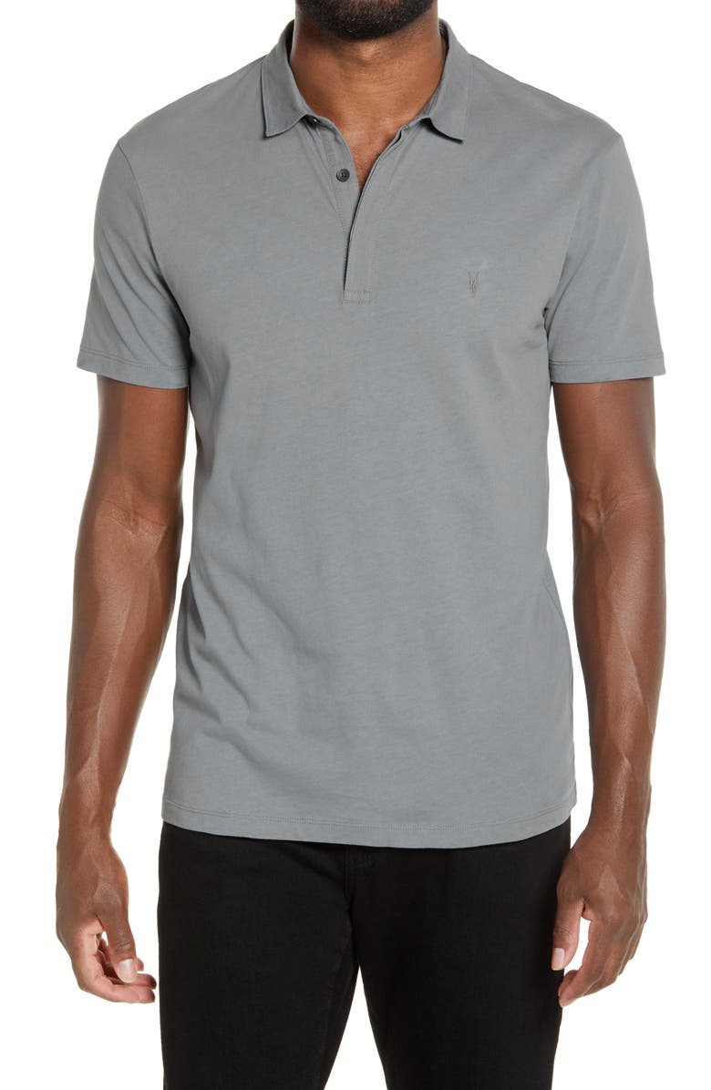 ALLSAINTS Brace Slim Fit Solid Polo, Main, color, LINE GREY