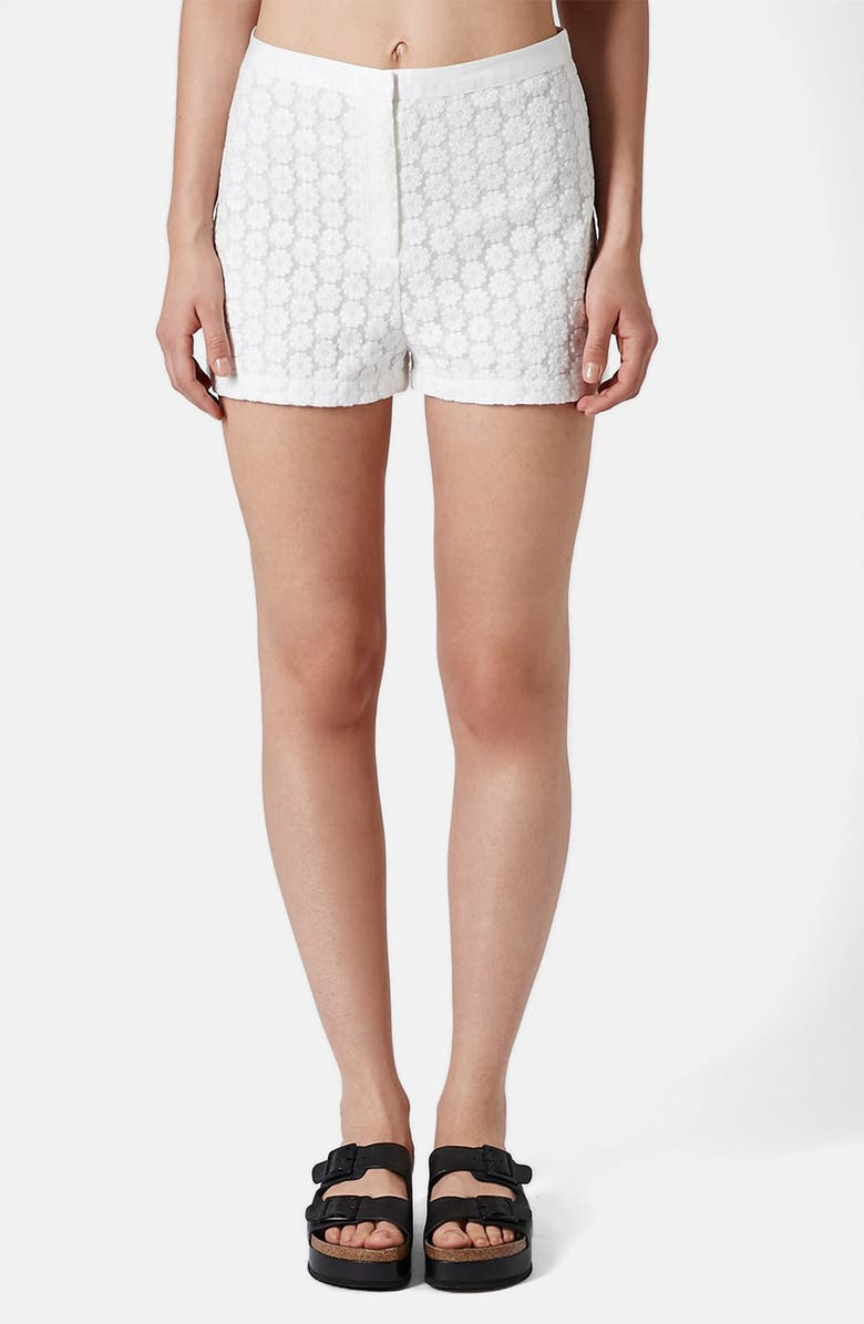 TOPSHOP Embroidered High Rise Shorts, Main, color, 100