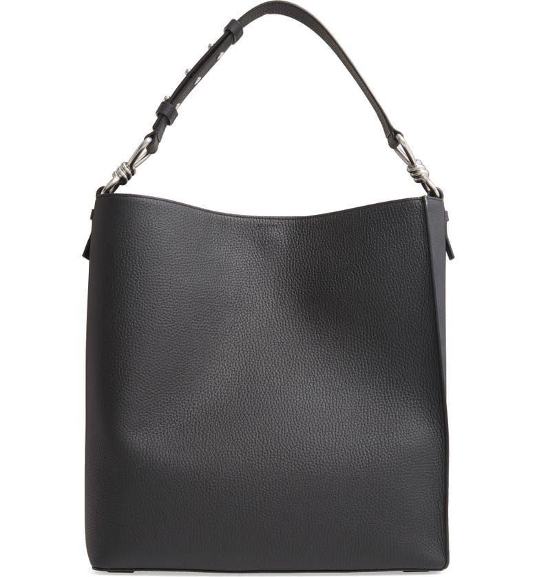 ALLSAINTS Captain Leather North/South Tote, Main, color, 001