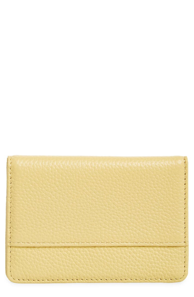NORDSTROM Ruby Pebbled Leather Cardholder, Main, color, YELLOW SLICE
