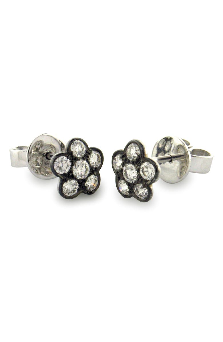 SETHI COUTURE Diamond Flower Stud Earrings, Main, color, BLACK RHODIUM/ DIAMOND